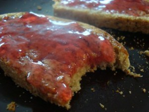 red current jelly on toast